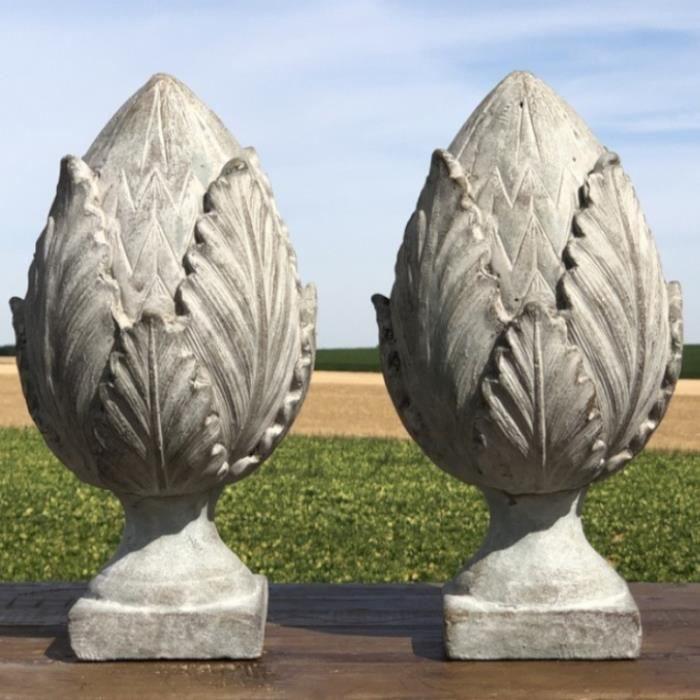 2 Grande Grosse Style Ancienne Pommes de pin Décoration Terre Cuite Intérieur Jardin 37 cm x 20 cm x 20 cm - x2-224357-Obélisque-Bis