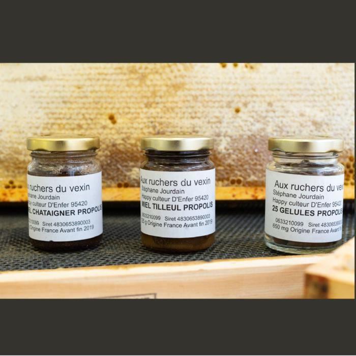 Assortiment Propolis : 1 miel tilleul propolis 125g, 1 miel châtaignier propolis 125g et 25 gélules de propolis