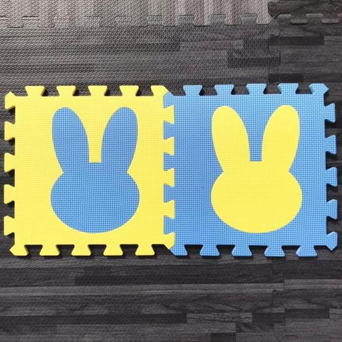 Tapis d'éveil,10 pièces-ensemble EVA mousse bébé tapis de jeu lapin Puzzle tapis pour enfants tapis d'escalade - Type Marron-10PCS