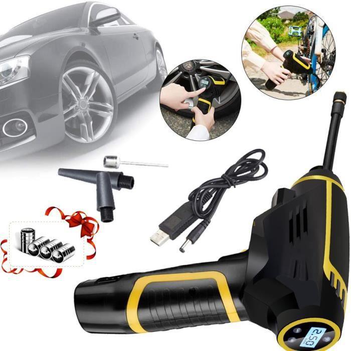 MAGICFOX Compresseur d'Air Portable Gonfleur pneus Voiture Rechargeable Sans Fil multifonctionnel avec Ecran LCD / Éclairage LED