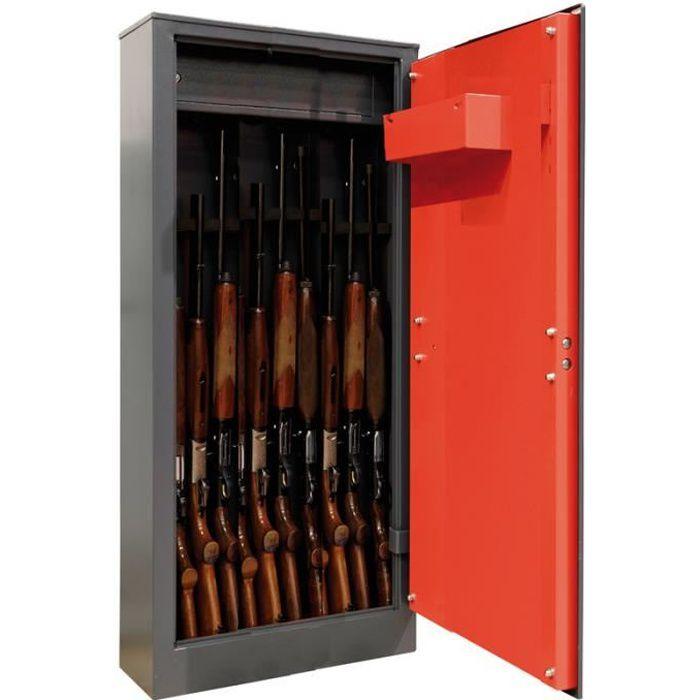Arregui Domus ARM100335 Armoire à 10 Fusils avec coffre intérieur, 10 fusils, serrure à clé