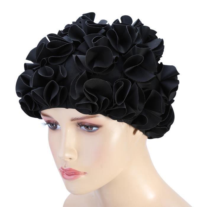Bonnet de bain Femmes Enfants Forme De Fleur Mode Chapeau De Bain Élastique Bonnet De Bain Cheveux Longs (Noir)