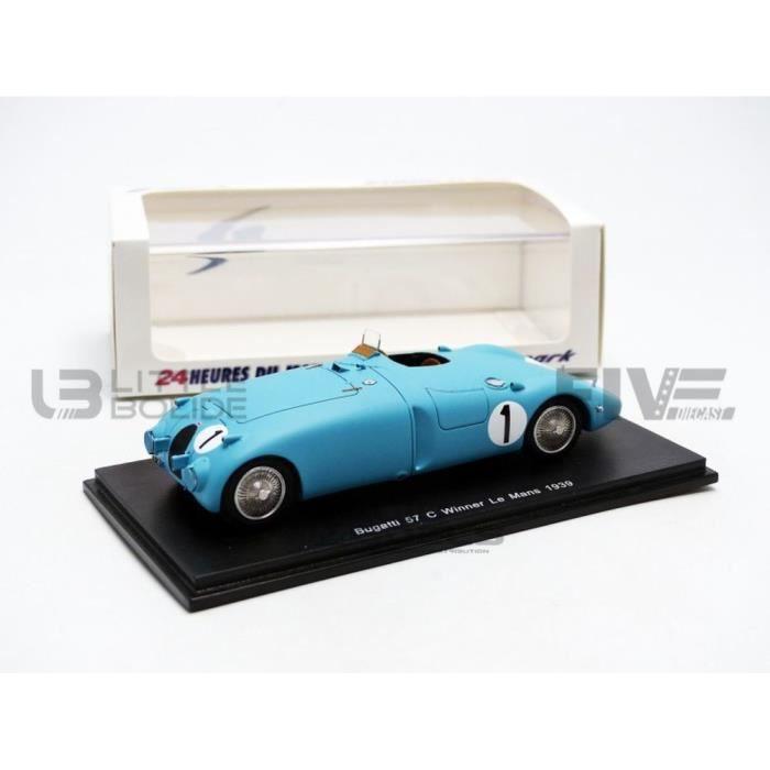 Voiture Miniature de Collection - SPARK 1/43 - BUGATTI 57 C - Winner Le Mans 1939 - Bleu - 43LM39