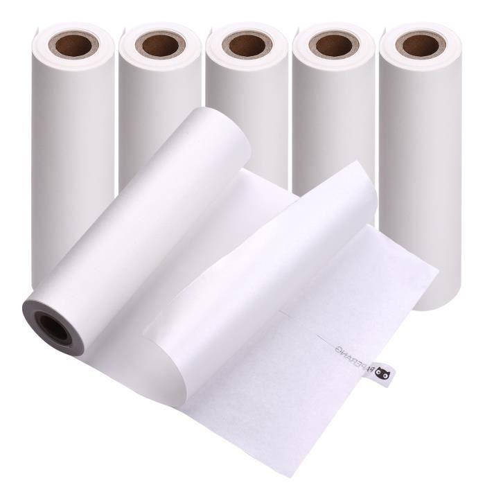 PAPERANG 6 rouleaux 111x30mm papier thermique Auto-adhésif Papier collant Sans BPA pour imprimante thermique PAPERANG C1