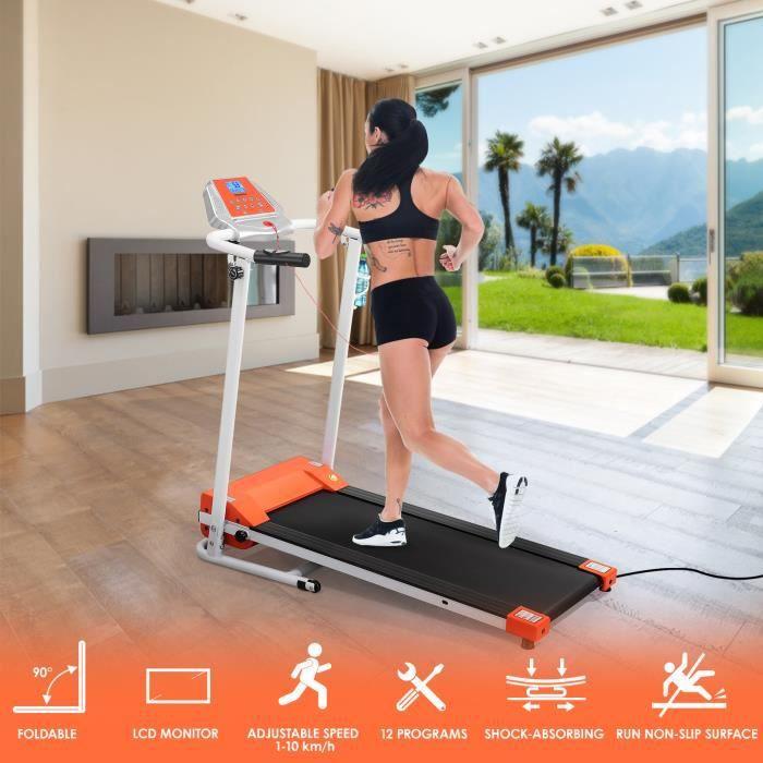Tapis de course pliable 1.5HP 1-10 km/h 12 programmes tapis de marche electrique pour appartement