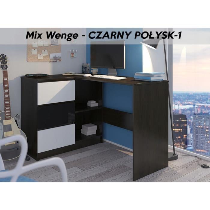KIAN W - Bureau d'angle + rangements + 3 tiroirs - 112x87x76 cm - Table d'ordinateur forme de L - Wengé Blanc