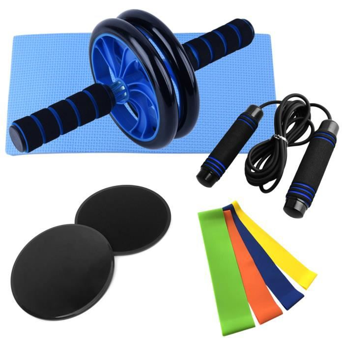 9 PCS Home Gym Fitness Set Abdominal Roller Wheel Genou Pad Disc Core Slider Resistance Loop Band Jump Rope Pack Kit-65