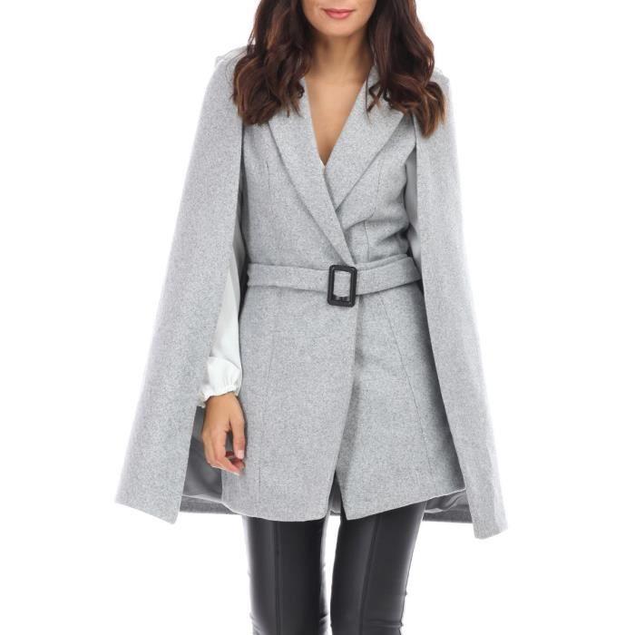 Manteau cape gris court