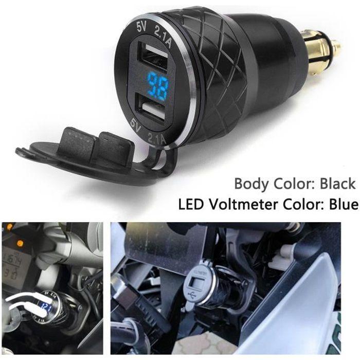 T4W 1x 4.2A Moto Dual USB Voltmètre de Prise de Chargeur Pour BMW Moto Noir