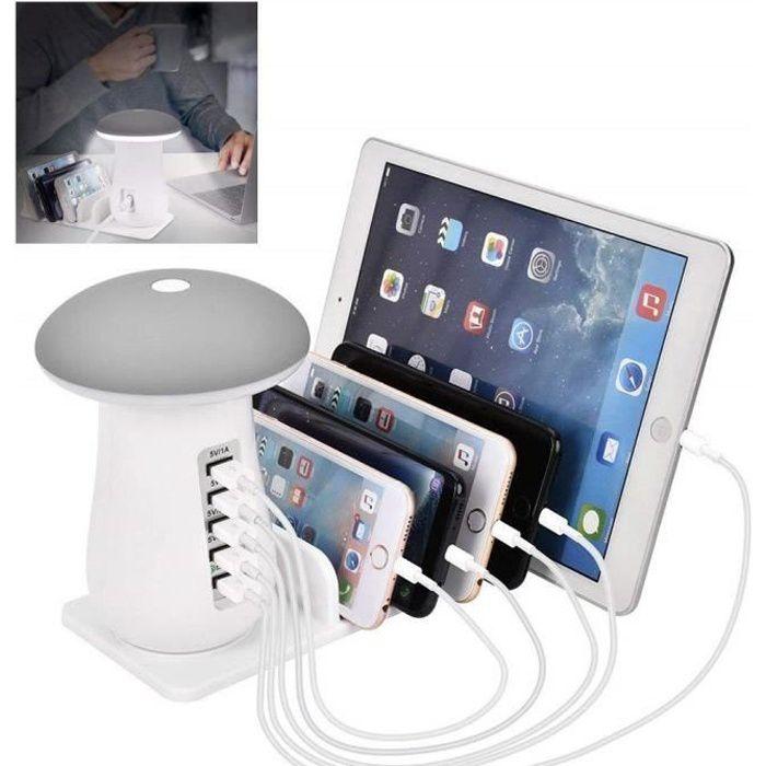 Station de Charge USB, Quick Charge 3.0 Chargeur Multiple USB avec 5 Ports USB de Recharge, Support de Charge, Champignon LED Lampe