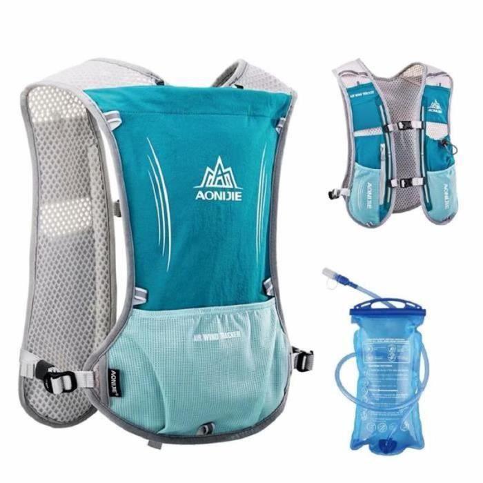 BIR22367-Sac à Dos Hydratation 5L Marathoner Running Race Gilet d'hydratation - Bleu clair - avec vessie d'eau de 1,5 L