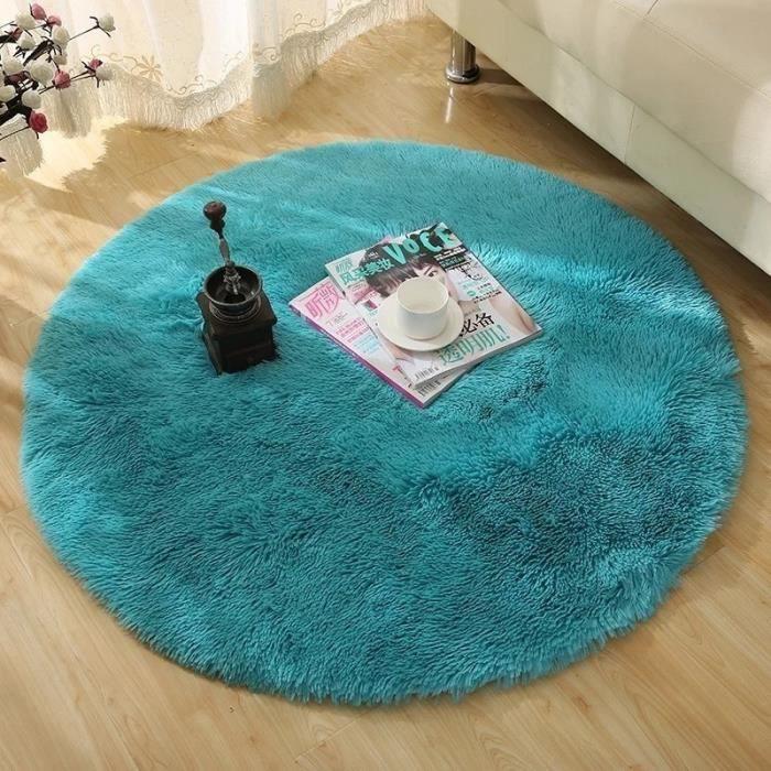 Bleu Tapis Rond En Peluche Tapis Salon Moquette Chambre 60x60cm