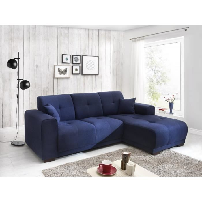 canape d 39 angle lisbona fixe droit bleu marine achat vente canap sofa divan canape d. Black Bedroom Furniture Sets. Home Design Ideas