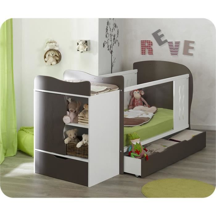 lit b b volutif jooly taupe et blanc achat vente lit. Black Bedroom Furniture Sets. Home Design Ideas