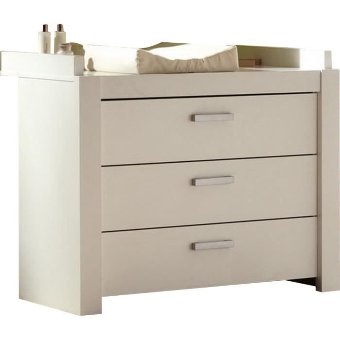 Commode langer 3 tiroirs coloris blanc achat vente - Commode table a langer bebe kitty blanc ...
