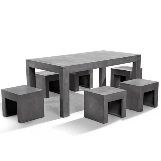 Table en b ton 180 cm 6 tabourets en b ton taranto for Table exterieur beton