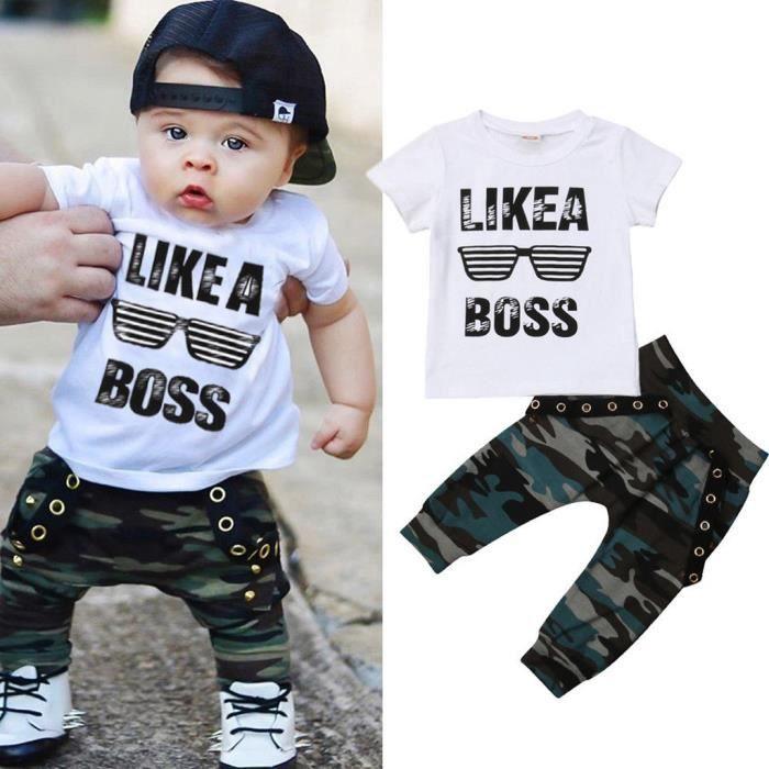 rayures Pantalons Tenues Ensemble 2PCS Nouveau-né Infant Toddler Enfants Bébé Garçons Tops T-shirt