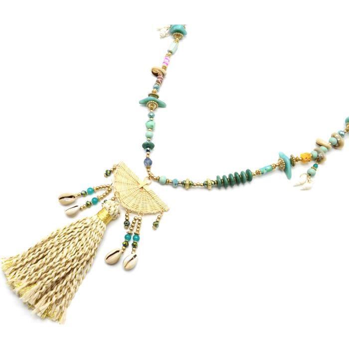 collier perle vert d'eau