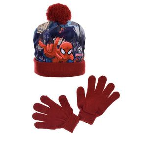BONNET - CAGOULE Ensemble bonnet pompon + gants Spiderman rouge - i