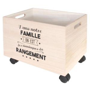 BOITE DE RANGEMENT Set de 2 Boites de Rangement à Roulettes en Bois
