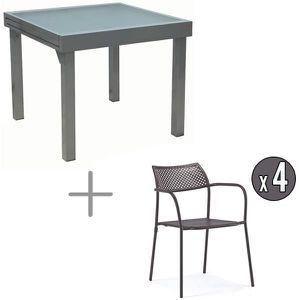Ensemble table alu-verre et chaises métal - 4 personnes ...