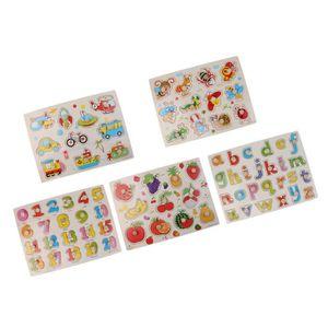 PUZZLE 5 Sets Puzzles en Bois À Encastrement Style Différ