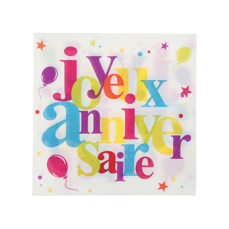 SANTEX Serviette de table Joyeux Anniversaire festif multicolore