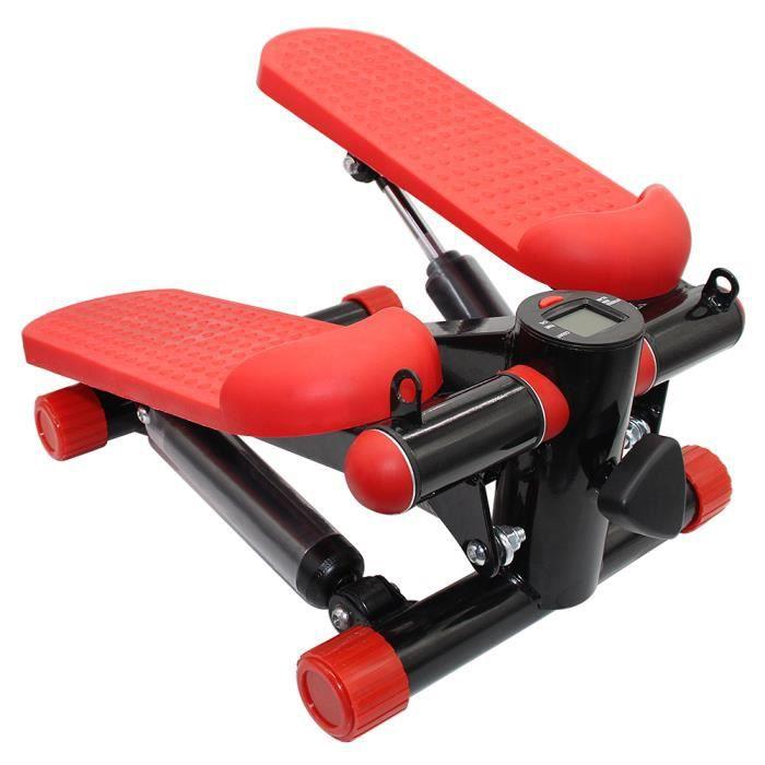 Yifunth Mini Stepper Marcheur avec cordes Appareil de fitness - Rouge/noir
