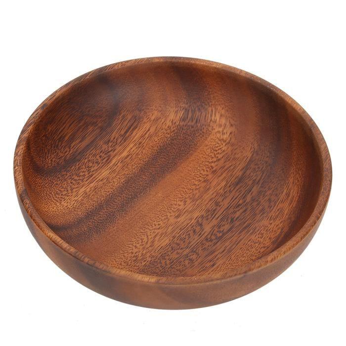 Bol à soupe de salade de fruits en bois plat à collation pour utilisation à la maison (17.5x4cm)-MEY