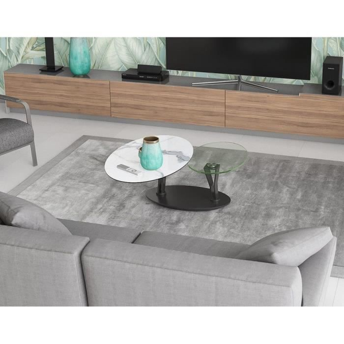 Table basse 2 plateaux pivotants ovales - céramique marbre et verre - L95 x P60 x H43 cm