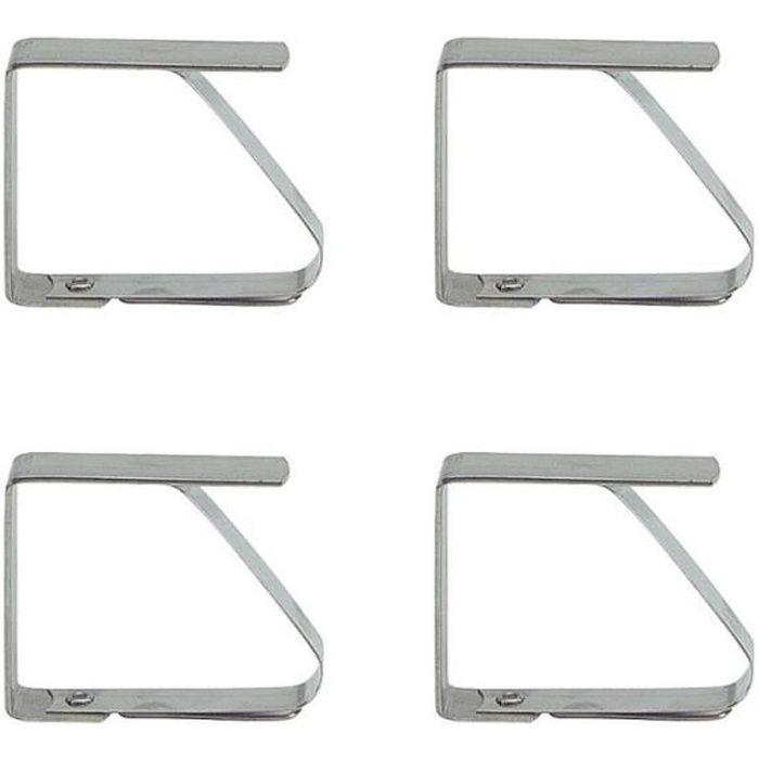 Lot de 4 clips / pinces pour nappe de table en Inox 5,2 cm Acier