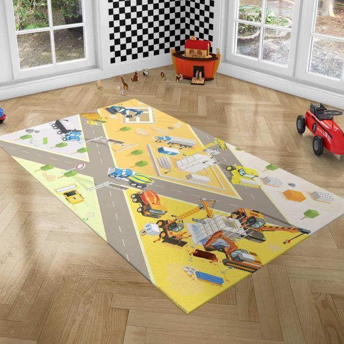 PLAYGROUND Tapis de Jeux pour Enfants - Tapis de Chambre - Chantier - 100x150 cm