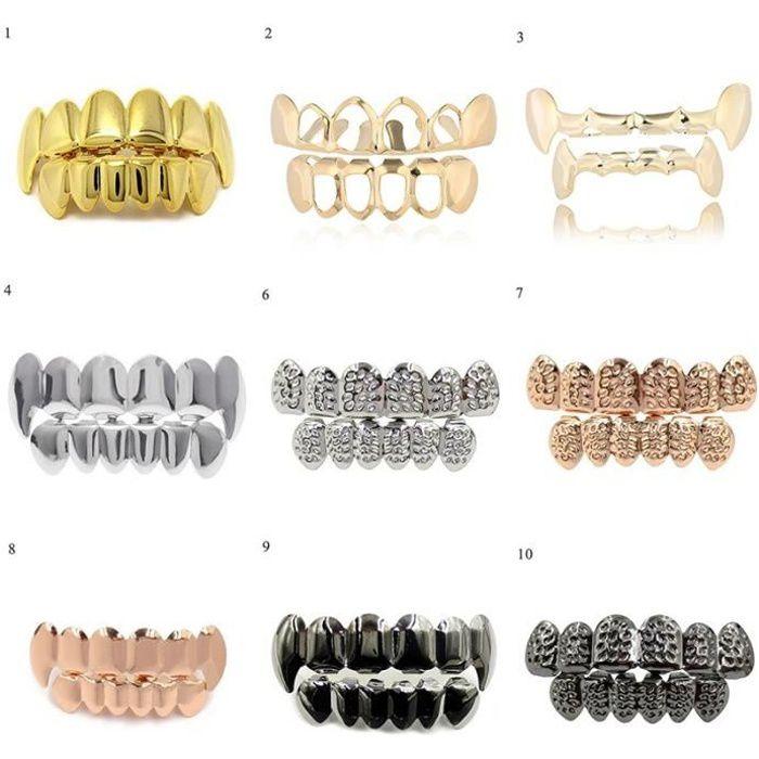 Ensemble de 6 fausses dents pour hommes et femmes, bijoux de corps, style Hip Hop, couleur or et argent 14 -CF18626