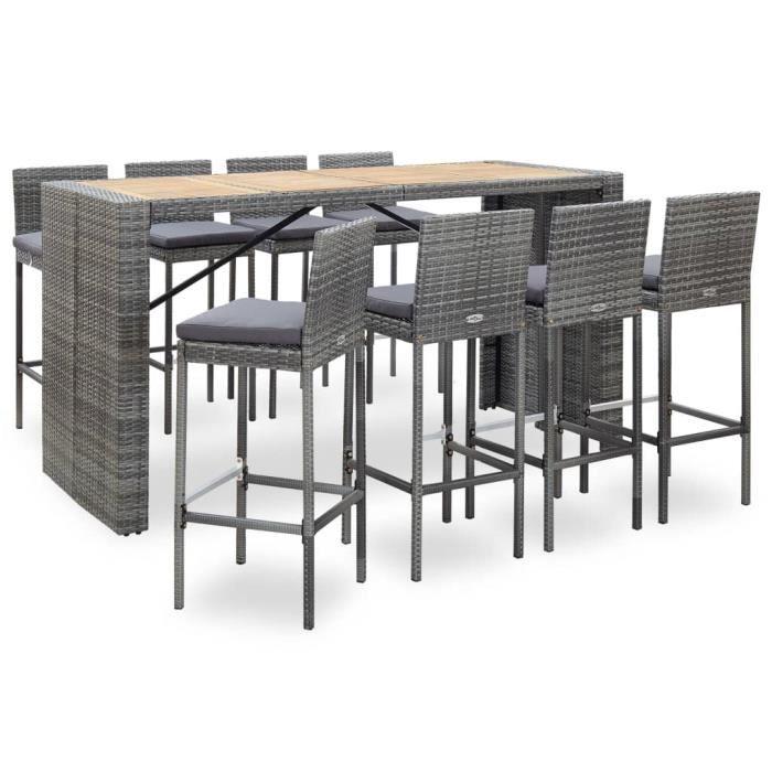 Ensemble Table de bar + 8 tabourets bar Mange-Debout Table Haute Résine tressée et bois d'acacia Gris