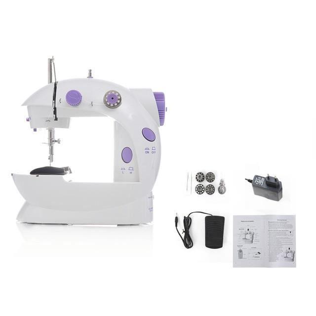 MACHINE A COUDRE,Mini portable machine à coudre à main point coudre couture couture sans fil tissu électrique pédale - Set A