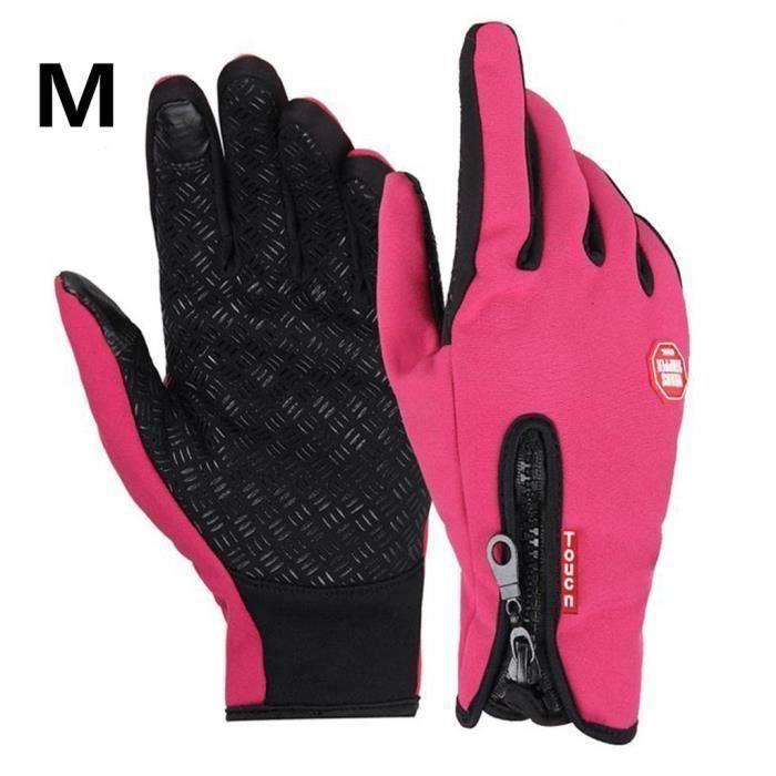 Gants moto vélo imperméable chaud conduire gants pour hommes et femmes rose M L68029
