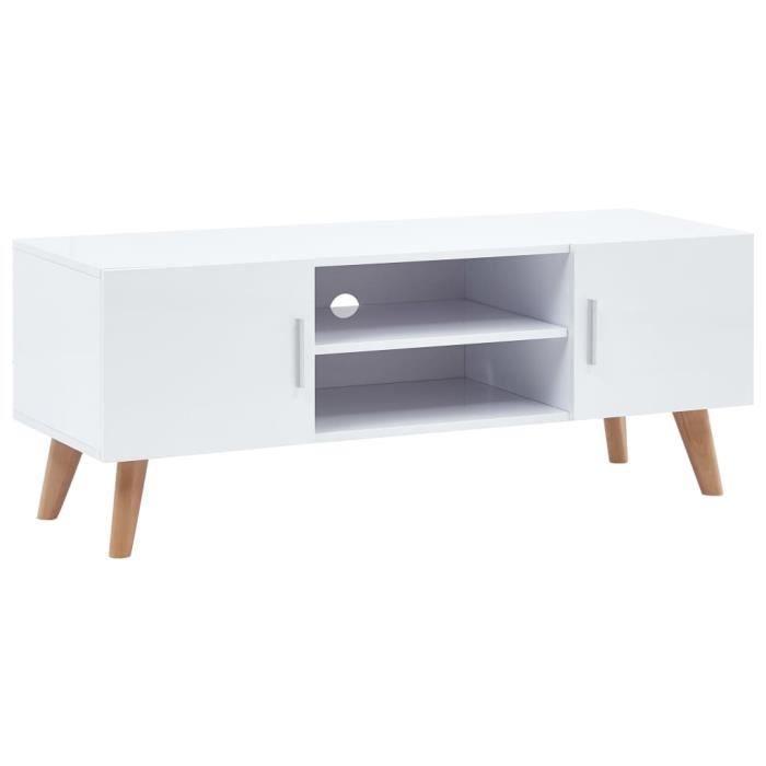 Meuble TV Moderne - Décor MDF Brillant Blanc - Pieds en Bois - 120 x 40 x 46 cm