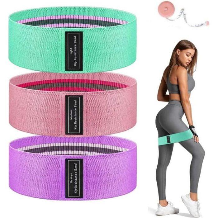 3 Pcs Bande de Résistance,Bande Élastique Fitness en Tissu,Équipement d'Exercices pour Rééducation Musculation Pilates Yoga