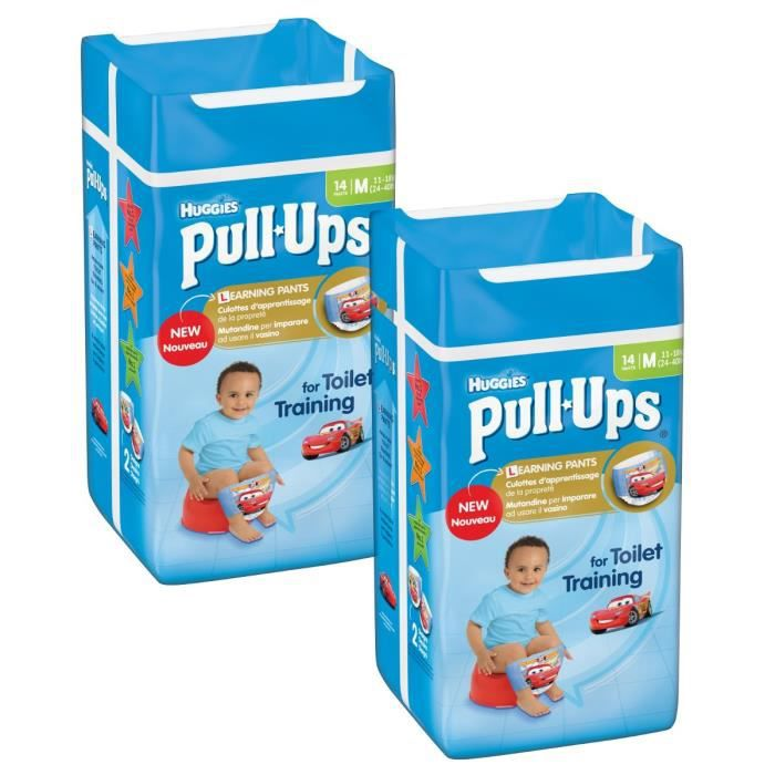 Lot de 2 HUGGIES Pull-Ups Boy Taille 5 - De 11 à 18kg - 14 couches