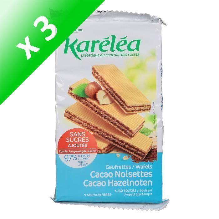 [LOT DE 3] Karéléa Gaufrettes cacao noisettes - 200 g