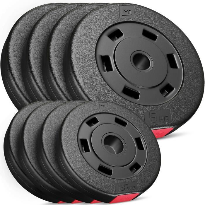 Plaques de poids Hop-Sport Poids en plastique de 30 kg - SET B - 4x2,5kg+4x5kg