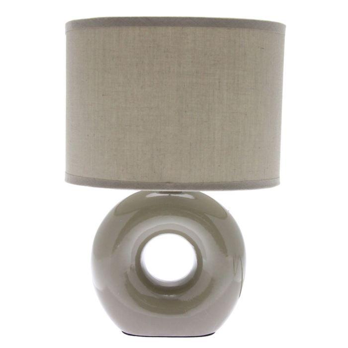 Lampe pied ceramique rond beige