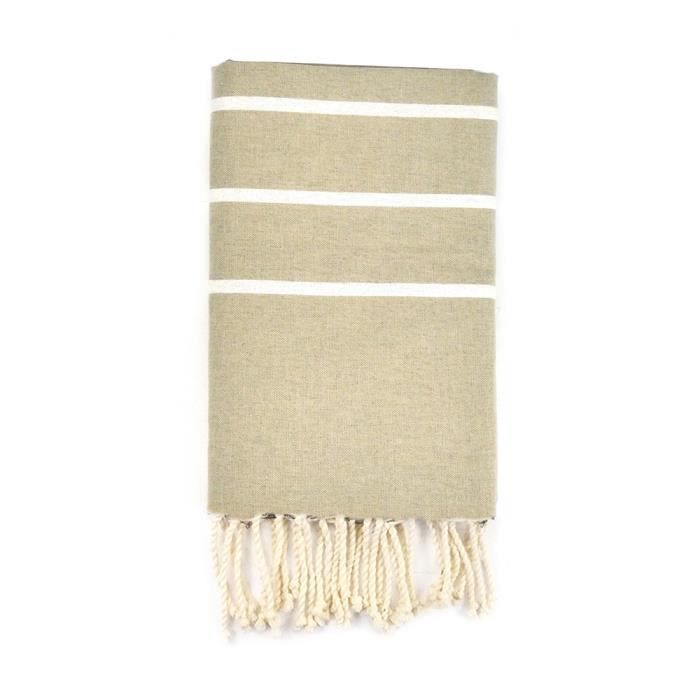 Fouta 100 cm x 200 cm Ibiza Beige Rayures Blanches - 100% coton - finition franges