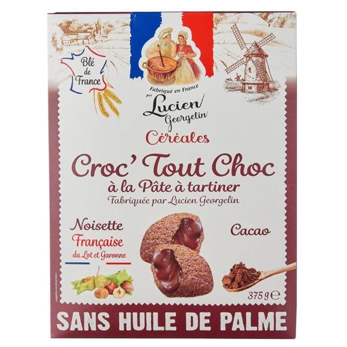 LUCIEN GEORGELIN Céréales Croc' Tout Choc à la Pâte à Tartiner - Noisettes du Lot-et-Garonne - 375 g