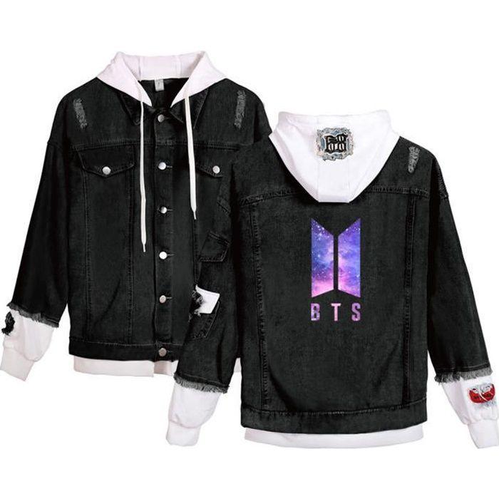 Homme Veste à Capuche Coupe-Vent Blouson Blouson Mode BTS Star avec Le Même Veste Jacket en Jean Outwear