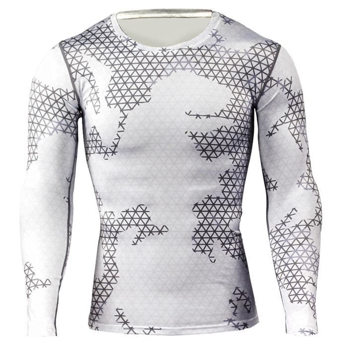 Maillot Compression À Manches Longues Tops Homme Sports Musculation Respirant 6 S