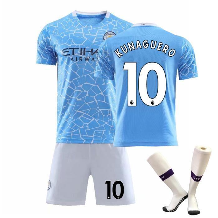 Manchester City KUNAGUERO NO.10 Jersey Adulte Maillot et Shorts de football Chaussettes Homme-Enfant -bleu