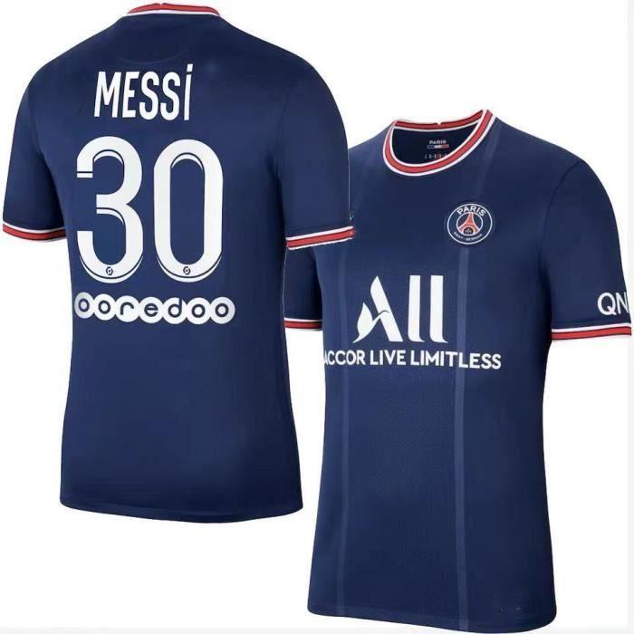 Messi T-Shirt de L'équipe de Paris-Messi 30 2021-2022 Maillot de Formation Maillot de Football Tissu Respirant pour Adulte-Bleu