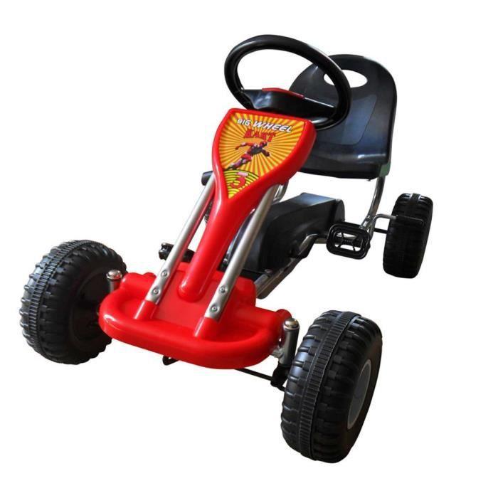Karting Go-Kart à Pédales avec Siège + Volant réglables Rouge