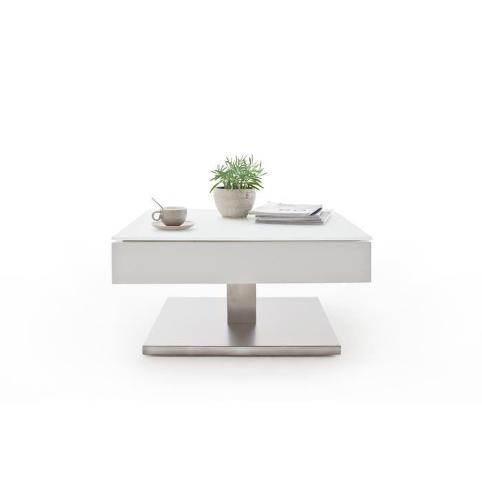 Table basse pivotant avec plateau en verre blanc mat - L75 x H38 x P75 cm